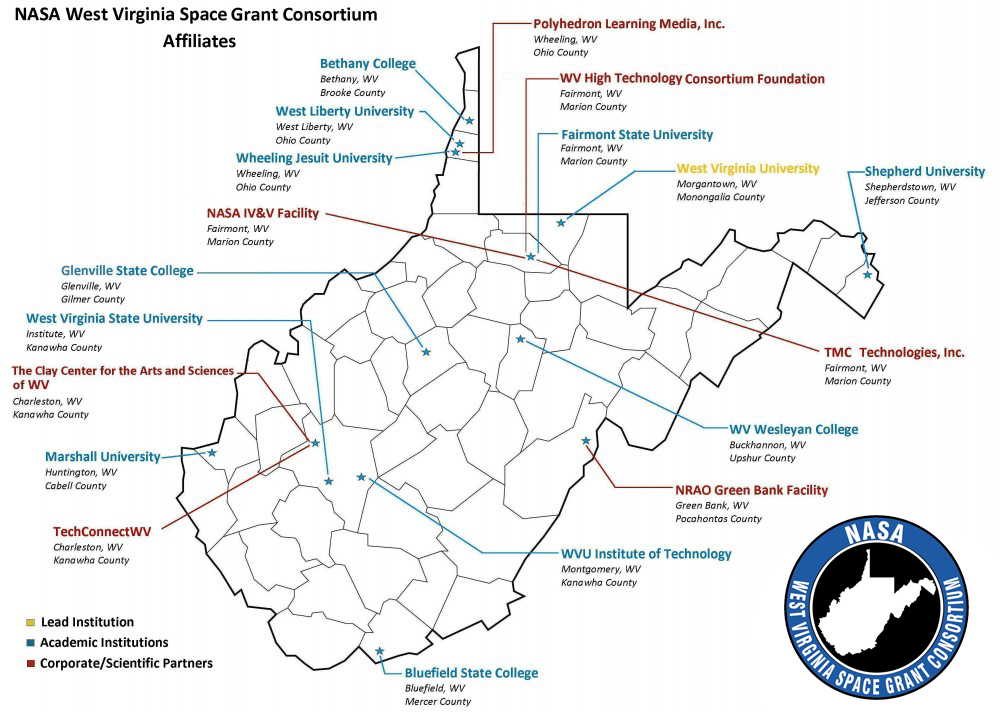 Marion Virginia Map.Affiliate Map Nasa West Virginia Space Grant Consortium