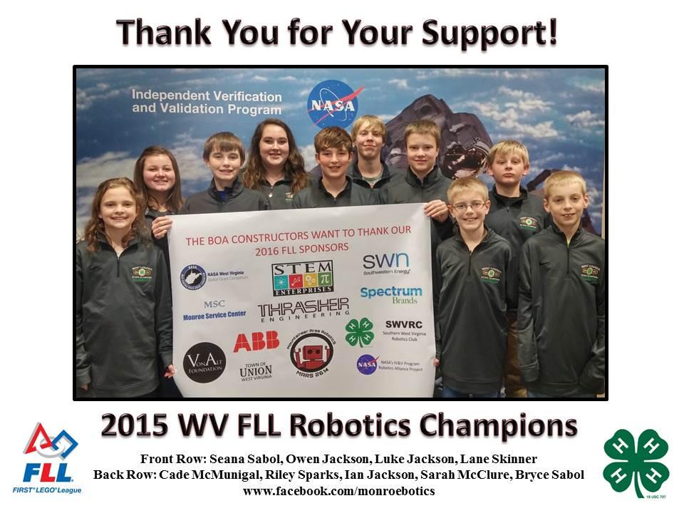 2015 WV FLL Robotics Champions